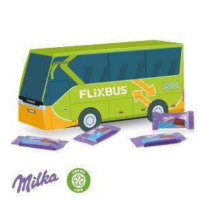 3D Präsent Bus Milka als Werbeartikel mit Logo im PRESIT Online-Shop bedrucken lassen