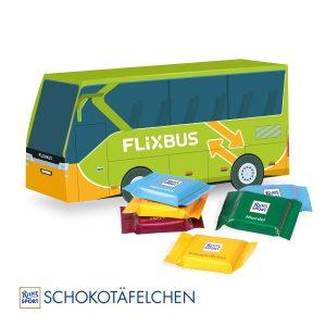 3D Präsent Bus Ritter Sport als Werbeartikel mit Logo im PRESIT Online-Shop bedrucken lassen