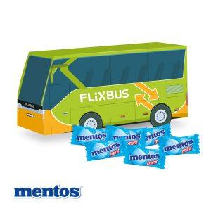 3D Präsent Bus Mentos als Werbeartikel mit Logo im PRESIT Online-Shop bedrucken lassen