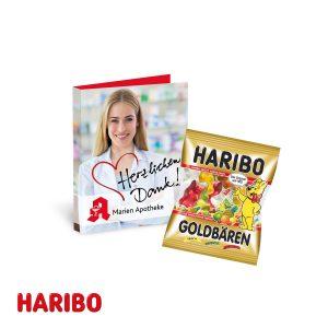 Werbe-Klappkarte mit süßer Füllung Haribo als Werbeartikel mit Logo im PRESIT Online-Shop bedrucken lassen