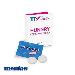 Werbe-Klappkarte mit süßer Füllung Mentos als Werbeartikel mit Logo im PRESIT Online-Shop bedrucken lassen
