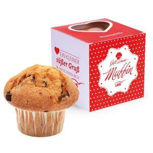 Muffin Maxi im Werbewürfel mit Herzausstanzung als Werbeartikel mit Logo im PRESIT Online-Shop bedrucken lassen