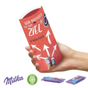 Kissenverpackung mit süßer Füllung Milka als Werbeartikel mit Logo im PRESIT Online-Shop bedrucken lassen