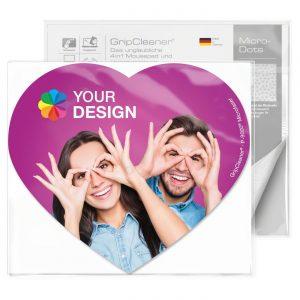 GripCleaner® 4in1 Mousepad Herz 23x20cm als Werbeartikel mit Logo im PRESIT Online-Shop bedrucken lassen