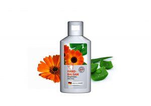 50 ml Flasche weiß - Handbalsam Ringelblume - Aloe Vera als Werbeartikel mit Logo im PRESIT Online-Shop bedrucken lassen