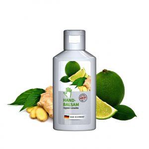 50 ml Flasche weiß - Handbalsam Ingwer - Limette als Werbeartikel mit Logo im PRESIT Online-Shop bedrucken lassen