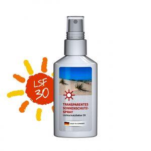 50 ml Spray weiß  - Sonnenschutzspray transp. LSF 30 als Werbeartikel mit Logo im PRESIT Online-Shop bedrucken lassen