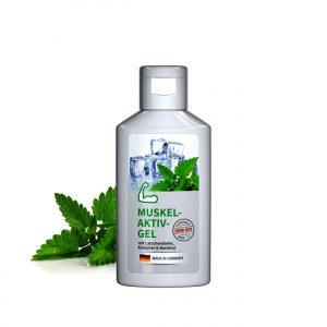 50 ml Flasche weiß  - Muskel-Aktiv-Gel als Werbeartikel mit Logo im PRESIT Online-Shop bedrucken lassen