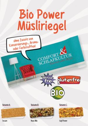 BIO Müsliriegel Nuss Mix Flowpack  Inhalt :  1 Stück als Werbeartikel mit Logo im PRESIT Online-Shop bedrucken lassen