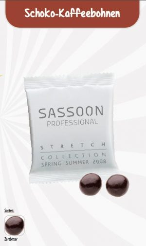 Schoko-Kaffeebohne Werbetüte  Inhalt :  2 Stück als Werbeartikel mit Logo im PRESIT Online-Shop bedrucken lassen
