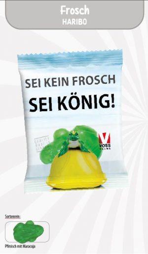 Haribo Frosch Werbetüte  Inhalt :  1 Stück als Werbeartikel mit Logo im PRESIT Online-Shop bedrucken lassen