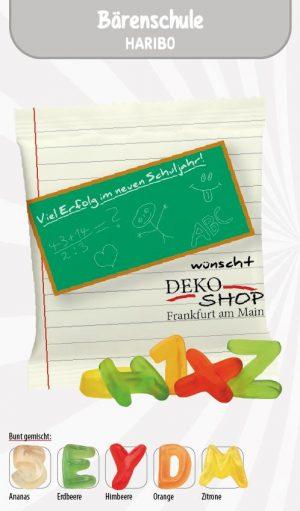 Haribo Bärenschule Werbetüte  Inhalt :  15 g als Werbeartikel mit Logo im PRESIT Online-Shop bedrucken lassen