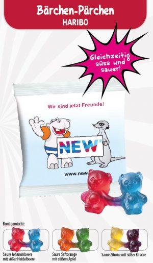 HARIBO Bärchen-Pärchen Werbetüte  Inhalt :  1 Stück als Werbeartikel mit Logo im PRESIT Online-Shop bedrucken lassen