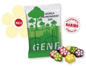 HARIBO Blumenzauber Werbetüte  Inhalt :  10 g als Werbeartikel mit Logo im PRESIT Online-Shop bedrucken lassen
