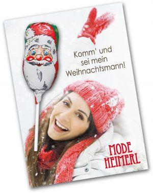 Grußkarte mit Weihnachtsschokololly als Werbeartikel mit Logo im PRESIT Online-Shop bedrucken lassen