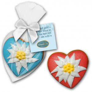 Edelweiß - Herzchen als Werbeartikel mit Logo im PRESIT Online-Shop bedrucken lassen