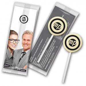Schokololly mit farbigem Logo als Werbeartikel mit Logo im PRESIT Online-Shop bedrucken lassen