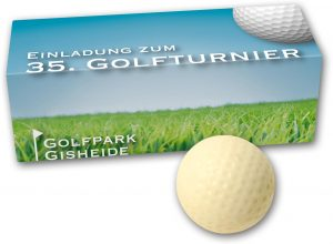 Schoko Golfballset 3er als Werbeartikel mit Logo im PRESIT Online-Shop bedrucken lassen
