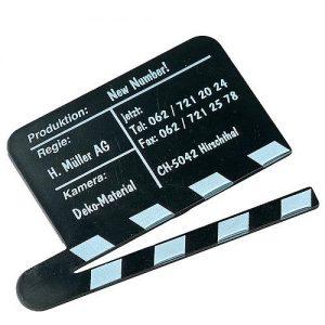 Magnet Filmklappe als Werbeartikel mit Logo im PRESIT Online-Shop bedrucken lassen