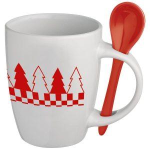 Keramiktasse mit Löffel als Werbeartikel mit Logo im PRESIT Online-Shop bedrucken lassen