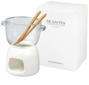 Belgium Schokoladenfondue-Set aus Glas im PRESIT Werbeartikel Online-Shop