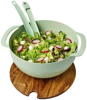 Lucha Salatschüssel aus Weizenstrohfaser mit Servierbesteck im PRESIT Werbeartikel Online-Shop