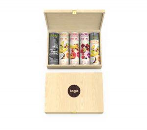 Holzbox 5 Dosen – Werbeartikel