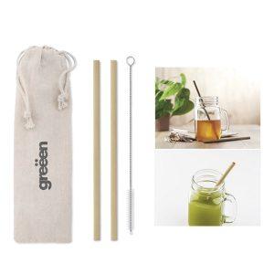 Bambus-Strohhalm im Beutel – Werbeartikel