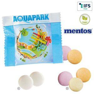 2er mentos im konventionellen Folientütchen als Werbeartikel mit Logo im PRESIT Online-Shop bedrucken lassen