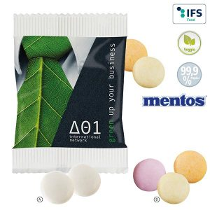 2er mentos im Papierwerbetütchen als Werbeartikel mit Logo im PRESIT Online-Shop bedrucken lassen