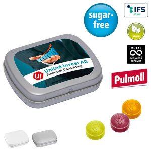 MINI-Klappdose mit Pulmoll Pastillen als Werbeartikel mit Logo im PRESIT Online-Shop bedrucken lassen