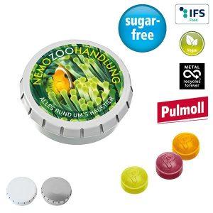 SUPER-MINI-Drück-mich-Dose mit Pulmoll Pastillen als Werbeartikel mit Logo im PRESIT Online-Shop bedrucken lassen