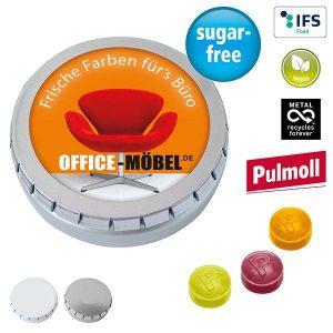 MINI-Drück-mich-Dose mit Pulmoll Pastillen als Werbeartikel mit Logo im PRESIT Online-Shop bedrucken lassen