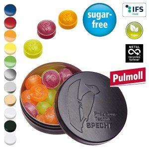 XS-Prägedose mit Pulmoll Pastillen als Werbeartikel mit Logo im PRESIT Online-Shop bedrucken lassen