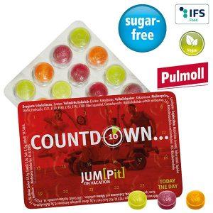 Kleinster Event-Kalender der Welt mit Pulmoll Pastillen als Werbeartikel mit Logo im PRESIT Online-Shop bedrucken lassen