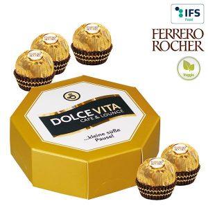 8-Eck-Geschenkbox mit Ferrero Rocher als Werbeartikel mit Logo im PRESIT Online-Shop bedrucken lassen