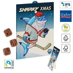 Eishockey-Schoko-Adventskalender BUSINESS als Werbeartikel mit Logo im PRESIT Online-Shop bedrucken lassen