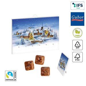 A5-Schoko-Adventskalender BASIC OHNE Werbeeindruck als Werbeartikel mit Logo im PRESIT Online-Shop bedrucken lassen