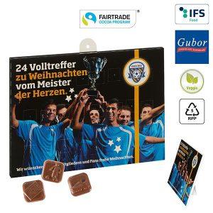 Fußball-Schoko-Adventskalender BUSINESS als Werbeartikel mit Logo im PRESIT Online-Shop bedrucken lassen
