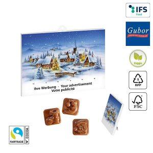 A5-Schoko-Adventskalender BASIC als Werbeartikel mit Logo im PRESIT Online-Shop bedrucken lassen