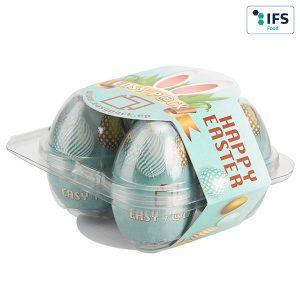 4er Eier-Box mit Werbebanderole als Werbeartikel mit Logo im PRESIT Online-Shop bedrucken lassen
