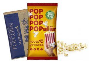 Seeberger Mikrowollen-Popcorn süss ohne Palmöl im Werbetütchen als Werbeartikel mit Logo im PRESIT Online-Shop bedrucken lassen