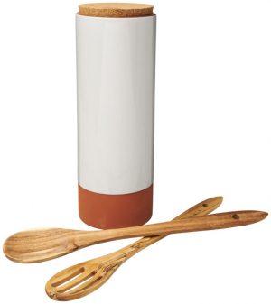 Terracotta-Pastabehälter mit Löffeln im PRESIT Werbeartikel Online-Shop