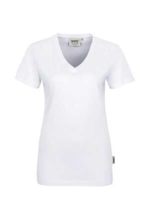 HAKRO Damen V-Shirt Classic (No. 126) als Werbeartikel mit Logo im PRESIT Online-Shop bedrucken lassen