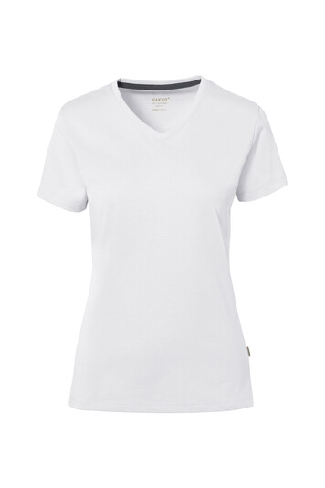 HAKRO Cotton Tec Damen V-Shirt (No. 169) als Werbeartikel mit Logo im PRESIT Online-Shop bedrucken lassen