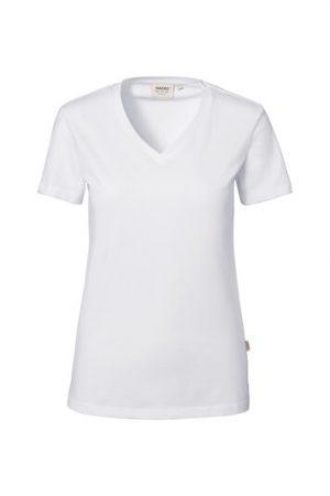 HAKRO Damen V-Shirt Stretch (No. 172) als Werbeartikel mit Logo im PRESIT Online-Shop bedrucken lassen