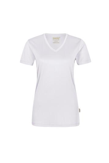 HAKRO Damen V-Shirt COOLMAX® (No. 187) als Werbeartikel mit Logo im PRESIT Online-Shop bedrucken lassen