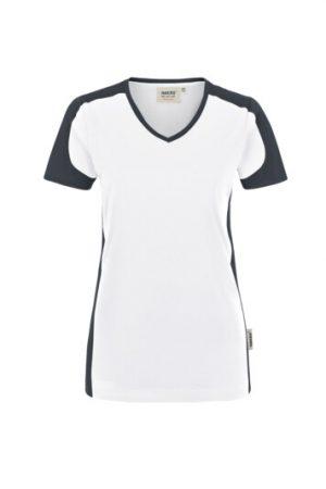 HAKRO Damen V-Shirt Contrast Mikralinar® (No. 190) als Werbeartikel mit Logo im PRESIT Online-Shop bedrucken lassen