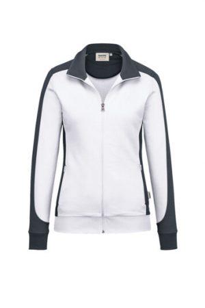 HAKRO Damen Sweatjacke Contrast Mikralinar® (No. 277) als Werbeartikel mit Logo im PRESIT Online-Shop bedrucken lassen