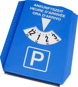 Parkscheibe mit 3 Sprachen EUROPA-CH als Werbeartikel mit Logo im PRESIT Online-Shop bedrucken lassen